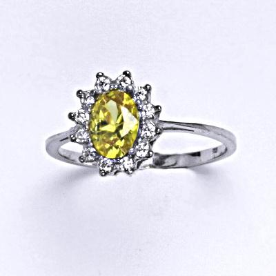 Stříbrný prsten Kate, žlutý zirkon a čiré zirkony, prstýnek ze stříbra, T 1480
