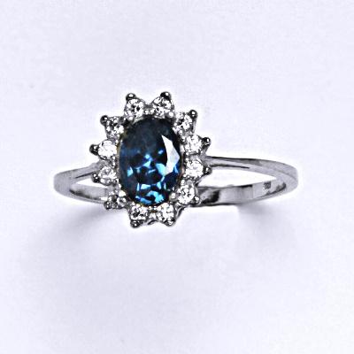 Stříbrný prsten Kate, zirkon akvamarin, čiré zirkony, prstýnek ze stříbra, T 1480