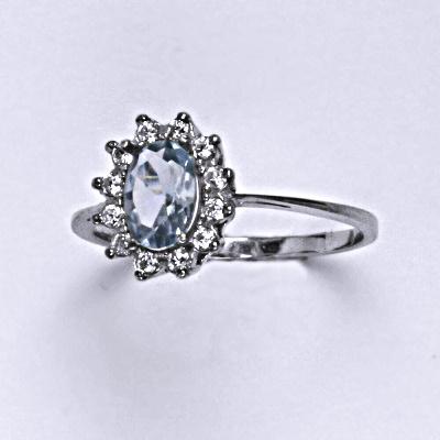 Stříbrný prsten Kate, zirkon akvamarin a čiré zirkony, prstýnek ze stříbra, T 1480
