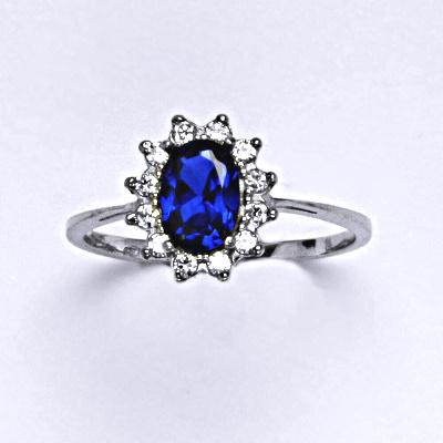 Stříbrný prsten Kate, syntetický spinel, čiré zirkony, prstýnek ze stříbra, T 1480