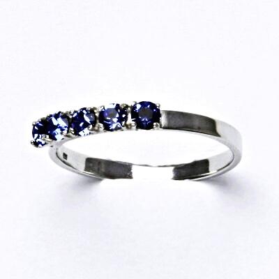 Stříbrný prsten se Swarovski krystaly, safír, prsten ze stříbra, T 1340