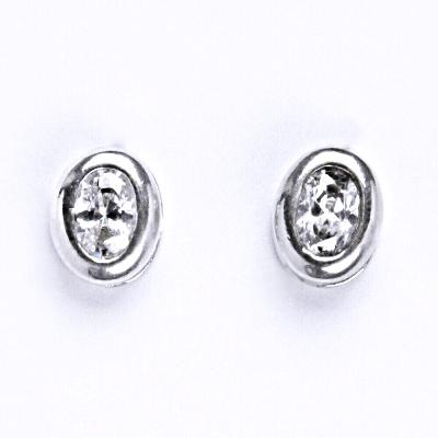 Stříbrné náušnice s čirými zirkony, náušnice ze stříbra NŠ 1053