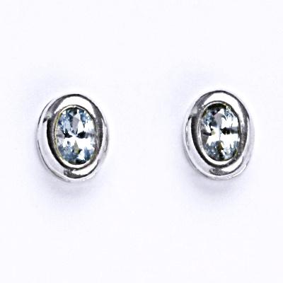 Stříbrné náušnice s akvamarínem, náušnice ze stříbra NŠ 1053 A
