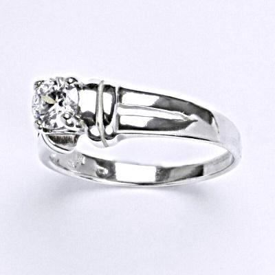 Stříbrný prsten s čirým zirkonem, T 1087