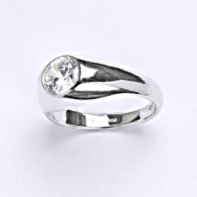 Stříbrný prsten s čirým zirkonem T 1061