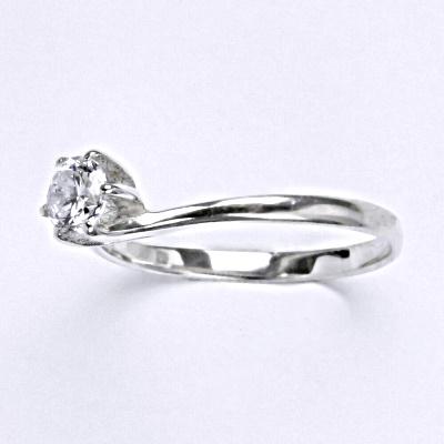 Stříbrný prsten se zirkonem, zásnubní prsten ze stříbra T 1059 L