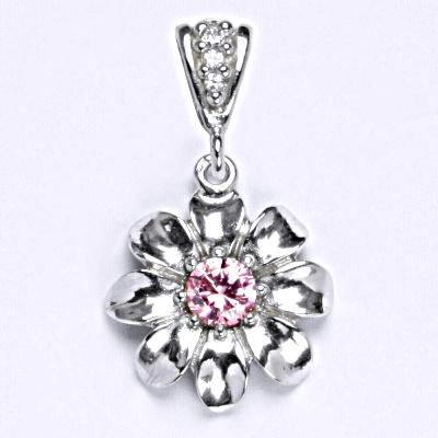 Stříbrný přívěšek s růžovým zirkonem, kytička P 1389/2