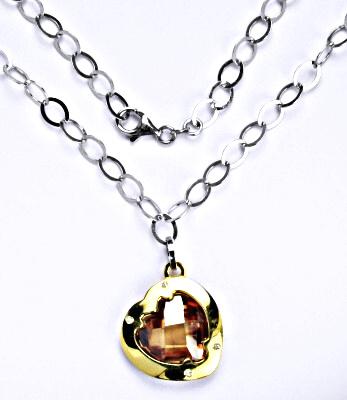Stříbrný náhrdelník se syntetickým oranžovým zirkonem, 16,83 g, srdce