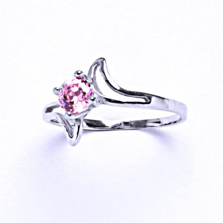 0 Stříbrný prsten s růžovým zirkonem,šperk T 1165