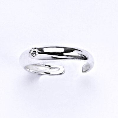 Prsten stříbrný na nohu s čirým zirkonem, T 1108