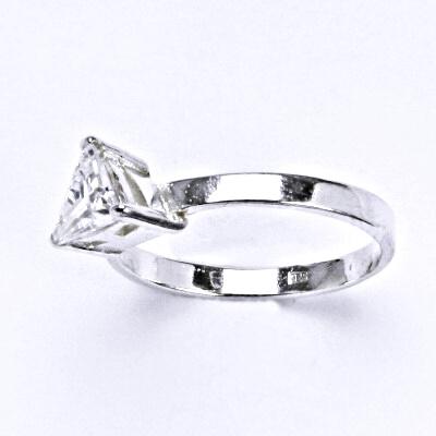 Prsten stříbrný s čirým zirkonem, T 1068