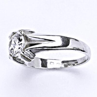 Prsten stříbrný s čirým zirkonem, T 1088