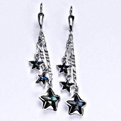 Náušnice stříbrné s krystaly Swarovski bermuda blue, hvězdy na řetízku, NK 1325/3/20