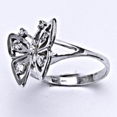 Stříbrný prsten s čirými zirkony, motýl, T 1387