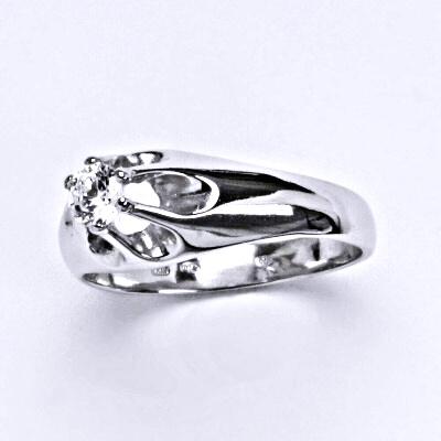 Stříbrný prsten s čirým zirkonem, zásnubní, T 1428