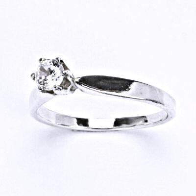 Prsten stříbrný s čirým zirkonem, prsten ze stříbra zásnubní, T 1105