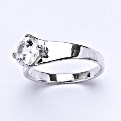 Prsten stříbrný s čirým zirkonem, prsten ze stříbra zásnubní, T 1082