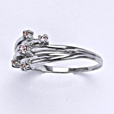 Stříbrný prsten s růžovými zirkony, prsten ze stříbra T 1415