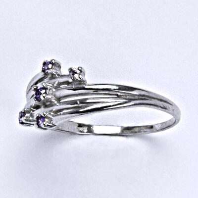 Stříbrný prsten se syntetickým ametystem, prsten ze stříbra T 1415
