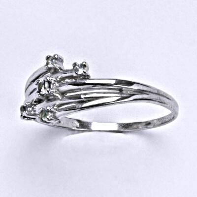 Stříbrný prsten se syntetickým akvamarínem, prsten ze stříbra T1415