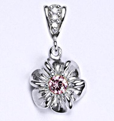 Stříbrný přívěšek s růžovým zirkonem , kytička, P 1435/2