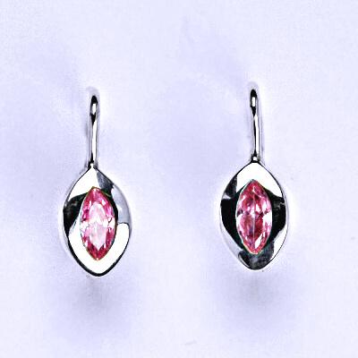 Stříbrné náušnice s růžovým zirkonem, NK 1119