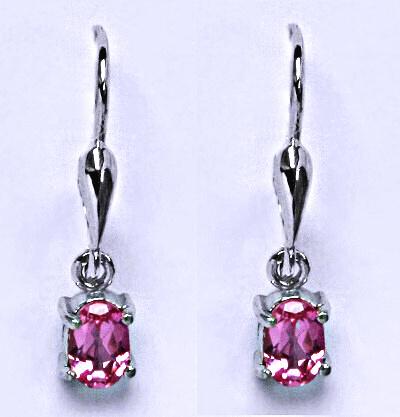 Stříbrné náušnice s růžovými zirkony, visací náušnice ze stříbra NK 1247/27