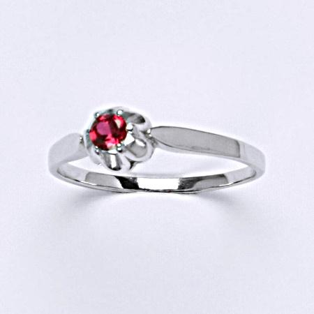 Stříbrný prsten se syntetickým zirkonem rubín T 1368