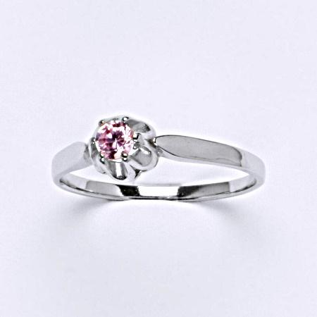 Stříbrný prsten s růžovým zirkonem T 1368