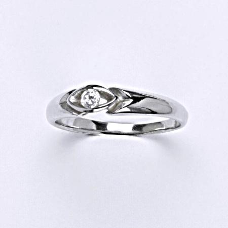 Stříbrný prsten s čirým zirkonem, T 1373