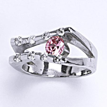 Stříbrný prsten s růžovým a čirými zirkony 003013504202, VR 301