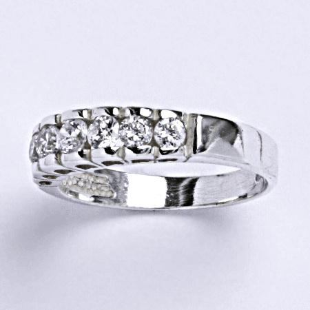 Stříbrný prsten, prsten s čirými zirkony, T 1129