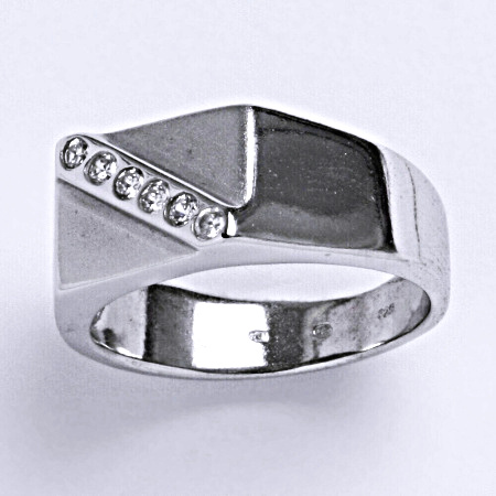Stříbrný prsten prsten s čirými zirkony, T 1185