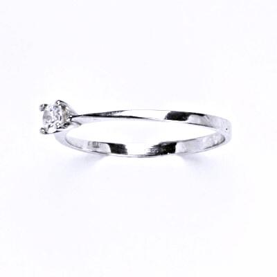 Stříbrný prsten s čirým zirkonem, T 1410