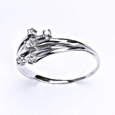Stříbrný prsten s čirými zirkony, prsten ze stříbra T 1415