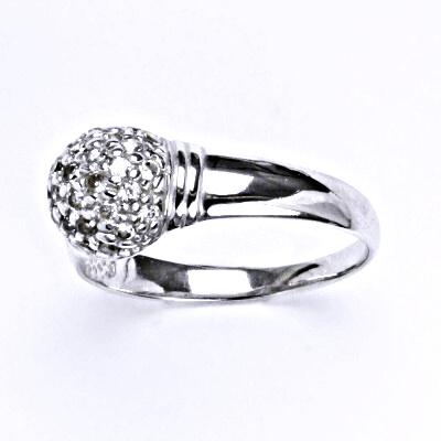 Stříbrný prsten s čirými zirkony, prsten ze stříbra T 1413