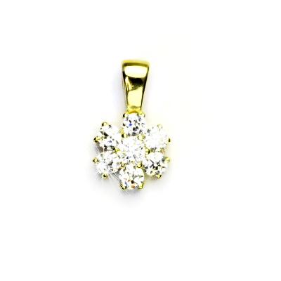 Zlatý přívěsek, žluté zlato, kytka, přívěsek s čirými zirkonem, kytička, VP 134