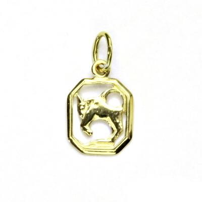 Zlatý přívěsek, žluté zlato, býk, znamení zvěrokruhu, přívěšek, P 127