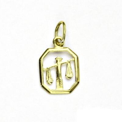 Zlatý přívěsek, žluté zlato, váhy, znamení zvěrokruhu, přívěšek, P 127