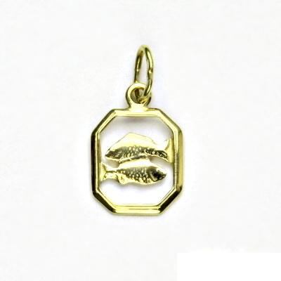 Zlatý přívěsek, žluté zlato, ryby, znamení zvěrokruhu, přívěšek, P 127