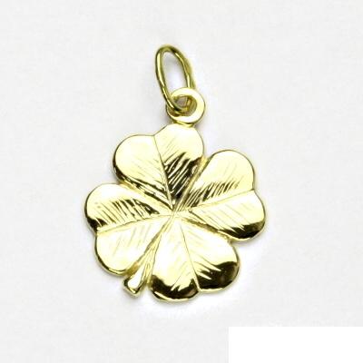 Zlatý přívěsek, žluté zlato, čtyřlístek, přívěšek ze zlata, P 905