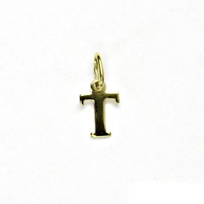 Zlatý přívěsek, písmenko T, písmeno, žluté zlato, přívěšek, P 744