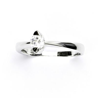 Zlatý prtýnek, bílé zlato, prsten se zirkonem, VR 113