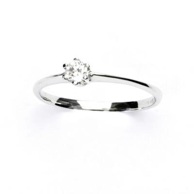 Zlatý prsten, bílé zlato, prstýnek se zirkonem, VR 326