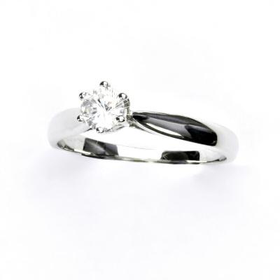 Zlatý prsten, bílé zlato, prstýnek se zirkonem, VR 329