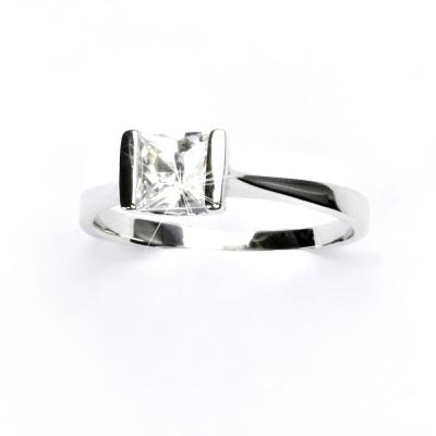 Zlatý prsten, bílé zlato, prstýnek s čirým zirkonem, VR 97