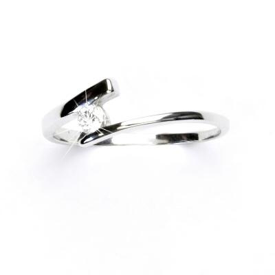 Zlatý prsten, bílé zlato, zásnubní prstýnek se zirkonem, čirý zirkon, VR 310