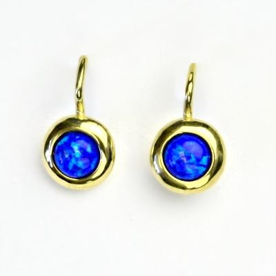 Zlaté náušice, žluté zlato, syntetický tmavě modrý opál, NK 1470