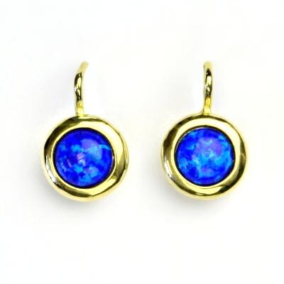 Zlaté náušice, žluté zlato, syntetický tmavě modrý opál, NK 1471