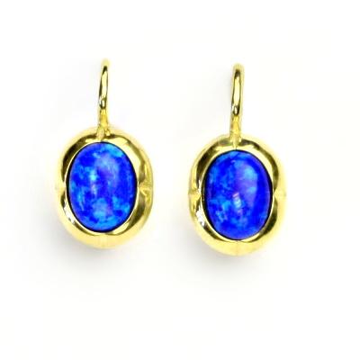 Zlaté náušnice, žluté zlato, tmavě modrý syntetický opál, NK 1374
